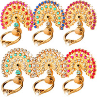 Wholesale wholesale bling tablet online - Universal Degree Finger Ring Holder Peacock Diamond Bling Cell phone Stand Bracket for iphone samsung htc android phone tablet pc
