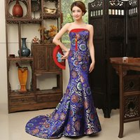 Wholesale strapless cheongsam dress - Chinese style evening wedding gown long style women Charming Sexy Qipao blue and red cheongsam Oriental costume trailing Modern party dress