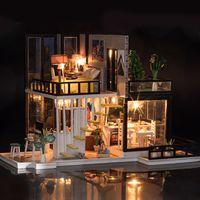 Wholesale model house kit diy resale online - DIY Doll House Minature Dollhouse Wooden Villa Model With Furnitures Casa Building Kits Christmas Gift Toys For Children K033 E