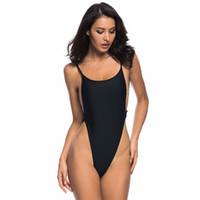 tek parça siyah mayo tanga toptan satış-Kadınlar için seksi Yüksek Bel Tek Parça Mayo Backless Swim Suit Plaj Mayo Siyah Tanga Mayo Monokini M-XL