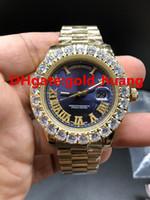 ingrosso grandi orologi a lunetta-2018 nuovo lusso 43 millimetri artiglio lunetta grandi diamanti orologio uomo automatico, orologi da uomo in acciaio inossidabile di alta qualità (blu) Top Quality