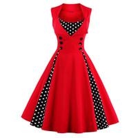 ingrosso oscillazioni rosse-Donne 5xl New 50s 60s Retro Vintage Dress Polka Dot Patchwork senza maniche Primavera Estate Red Dress Rockabilly Swing Party Dress