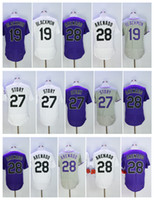 Wholesale Purple Stories - 28 Nolan Arenado Men Jersey 19 Charlie Blackmon Baseball Jersey Mens 27 Trevor Story Baseball Jerseys