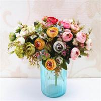 bouquet de thé achat en gros de-5 Fourchettes Simulation Petit Thé Rose Bouquet avec 4 Têtes Décoration De La Maison Photo Photographie Accessoires De Mariage Rose Fleur Artificielle