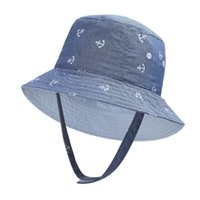 Wholesale baby bucket hats for girls resale online - Anchor Print Baby Sun Protection Hat for Kids Sun Hat Boys Girls Bucket Beach