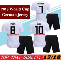 Wholesale Football German - New German Soccer Jerseys Kits 2018 World Cup Home White German Football Shirt Customize 2017 MULLER OZIL GOTZE REUS KROOS Men Uniforms
