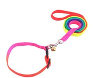 Wholesale Rainbow Dog Cat Bell Collar and Leash Adjustable Outdoor Comfortable Nylon Pet Collars For Small Dogs Puppies good