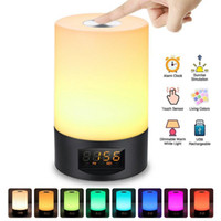 будильник включен оптовых-Творческий LED настольная лампа Smart Sunrise Alarm Clock Wake Up Light Touch красочные Ночной свет