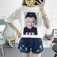 Wholesale funny korean t shirts - Summer Tops For Women 2018 Korean Style Funny Feminist Print T Shirts Cropped Tumblr Casual Short Woman White Tshirt
