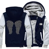 Wholesale Jacket Winged Sleeves - 2018 New USA Three raven wings Game of Thrones Direwolf Ghost House of Stark Winter is Coming Jacket Sweatshirts Thicken Hoodie Zipper -G