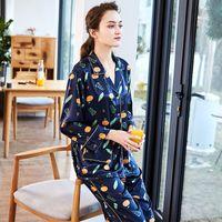 a00a5ad815 YF judy Women Silk Pajamas Set Delicate Simple Sleep Lounge Set Turn-down  Collar Long Sleeve Shirts Ankle-Length Pants TZ623