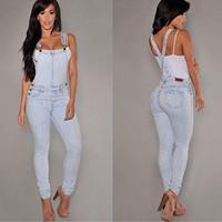 mulheres soltas das calças cabidas venda por atacado-Mulheres Sexy Slim Fit Folgado Solto Jeans Macacão Jeans Calças Macacão Macacão