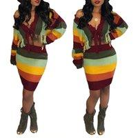 blok renk elbiseleri toptan satış-Moda Renk Bloğu Iki Parçalı Set Elbise Seksi Kadın Kapalı Omuz Kazak Bodycon Etek Elbise S-XL