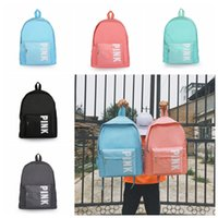 Wholesale holiday tennis - Pink Letter Backpack Zipper Shoulder Bags Teenage Girl Summer Holiday Beach Letter Printed Bag Love Pink Backpack Outdoor Bags LJJO5389