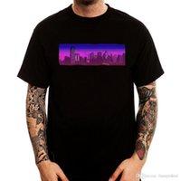 impresión de píxeles al por mayor-Hombres Moda Pixel art ciudad retro borrosa logotipo minimal negro impreso algodón hombres camiseta Camiseta impresa Hombres camiseta Casual Tops