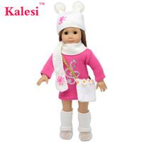 juego de accesorios de muñeca al por mayor-6 piezas Ropa para niña de 18 pulgadas Accesorios muñeca suéter vestido sombrero bolsa - Ropa de muñeca de 18 pulgadas accesorios Set