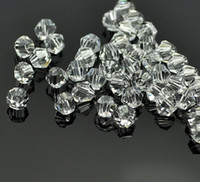 cristal 925 perlas de plata al por mayor-PERLAS DE CRISTAL DE CRISTAL DE BICONE BLANCO CLARO 4MM # 5301 ESPACIADORAS PARA LA FABRICACIÓN DE JOYAS