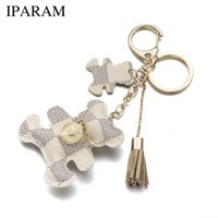 Wholesale IPARAM New fashion Key Chain Accessories Tassel Key Ring PU Leather Bear Pattern Car Keychain Jewelry Bag Charm