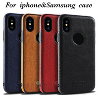 Wholesale new leather phone case online - For iPhone X sFoSamsung Note8 S8 S7 S6 New Business Leather Pattern Stitching Phone Case TPU Soft Shell Full Protection Anti drop Case