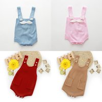 Wholesale wing jumpsuit for sale - Knitted Baby Romper with Wings or Pockets Suspenders Spring Autumn Baby Boy Girl Knitted Jumpsuit Soft Baby Clothes T