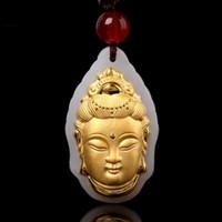 medallón de memoria de oro blanco al por mayor-Unisex Buddha Guanyin Gold Jade colgante de descuento de calidad superior buena suerte collar para mujeres hombres