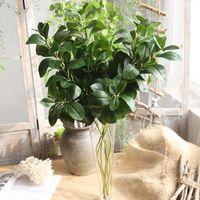 ingrosso piante di foglie piccole-Foglie artificiali 80cm verde foglia naturale Piccola pianta di Milano foglie artificiali ghirlanda di piante finte Decorazione domestica