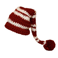 Wholesale baby christmas crochet elf hats resale online - Cute Newborn Santa Elf Hat Handmade Knit Crochet Baby Boy Girl Christmas Pompom Stocking Hat Long Tail Cap Infant Toddler Photography Prop