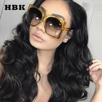 ingrosso grandi occhiali alla moda-HBK Square Sunglasses Oversize Big Frame Vintage Women Designer del marchio Luxury 2018 New Fashion Trendy Popular Occhiali da sole UV400