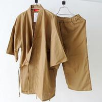 japanese yukata robes venda por atacado-Verão de manga curta pijama set dos homens simples quimono japonês de algodão pijama yukata sleepwear robe e calças