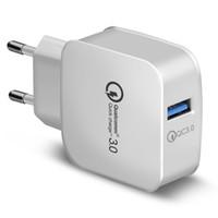 adaptateur secteur universel 12v 2a achat en gros de-QC 3.0 chargeur mural Qualcomm USB Charge rapide 5V 3A 9V 2A 12V 1.5A Adaptateur secteur de voyage Charge rapide US EU Plug pour iphone Samsung 200PCS /