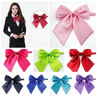 Wholesale Hotels Bank - Women Silk Solid Butterfly Bowtie Lady Girls Formal Bow Tie Neckwear Party Banquet Adjustable Necktie Party Hotel Bank Students AAA138