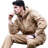 lurker taktik ceketleri toptan satış-V40 Taktik Lurker Shark Cilt Softshell Ceket Erkekler Su Geçirmez Rüzgar Geçirmez Camo Ceket Kamuflaj Kapşonlu Erkek Ordu Giyim