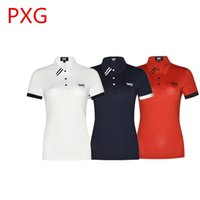 Wholesale quick shipping dress - New Lady PXG Sport Golf T shirt Short Sleeve Outdoor Sport Training Quick Dry Turn-down Collar T-Shirt Dress 3Colors S-XL Free shipping