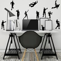 Wholesale funny car sale online - Home Decor Black Fortnite Stickers Funny Character Action Poster Waterproof Graffiti Car Room Sticker Hot Sale dc hh