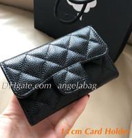 ingrosso borsa della scatola nera-5A di alta qualità genuino Leater Flap portafoglio nero caviale Flap titolare della carta moneta Puch Lady Fashion Purse con scatola