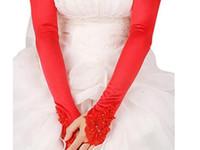 vestidos de noiva de cetim pequenos venda por atacado-Atacado nupcial vestido de noiva luvas longo fingerless pequeno bordado liso branco preto luvas de cetim vermelho fabricantes