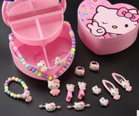 rosa kind armband großhandel-Designer Schmuck Kinder Schmuck Sets Cartoon 14psc Arten von Schmuck Armbänder Halskette Ringe schöne rosa versandkostenfrei
