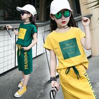 crianças casual camisas vestidos meninas venda por atacado-Vestido de Verão das crianças + T-Shirt 2 Peças Set Meninas de Manga Curta de Algodão T Camisa Roupas Conjunto Roupas Roupas Infantis 10 12 ano