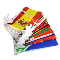 Wholesale banner sets - International String Flag Set 100 50 Country Polyester Bunting Flag Small Countries Banner Flags Outdoor Supermarket Party Decoration