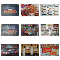 Wholesale aluminum clocks - 20*30cm European Style Iron Painting For Bar Western Restaurant Hang Tin Sign Eat Drink Theme Tin Poster Top Quality ZB