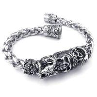 erkek gothic bilezik toptan satış-Adam Biker Gotik Yılan Yılan Kafatası Kafatası Paslanmaz Çelik Takı Bilezik - Gümüş