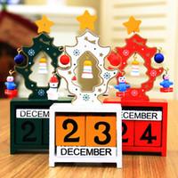calendarios de adviento al por mayor-Calendario de adviento navidad cuenta regresiva DIY madera calendario navidad adornos decoraciones de navidad para el hogar cuenta regresiva calendario regalo