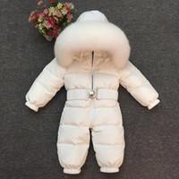 criança de macacão branco venda por atacado-Macacão de bebê meninos e meninas têm casacos grossos para baixo desgaste do esqui infantil