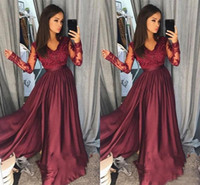 Wholesale elegant yellow pageant dress - Elegant Burgundy Satin A Line Prom Evening Dresses 2018 Long Sleeves Sexy Deep V Neck Floor Long Formal Special Occasion Pageant Wears
