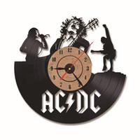 bandas colgando al por mayor-Moda Relojes para colgar en la pared Estéreo Banda de rock Disco de vinilo CD Reloj para la decoración del hogar Reloj de plástico Casual Negro 65mda BB