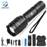 Powerful LED flashlight XML-T6 L2 8000 Lumens torch 5 lighting modes zoom flashlight Camping light with 18650 battery