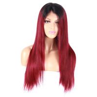 mejores pelucas de encaje vendidas al por mayor-Productos más vendidosTwo tono negro a rojo peluca delantera de encaje sintético recto natural sedoso