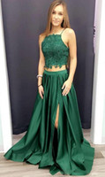 Wholesale best long black evening dresses resale online - 2018 Best Selling Sexy Two Piece A Line Green Lace Long Prom Dress with Side Slit vestidos de fiesta Evening Party Formal Gowns