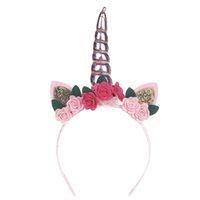 Wholesale unicorn party supplies for sale - Birthday Party Baby Hoop Hair Band Infant Flower Toddler Bow Headband Girls Party Accessories Unicorn Headwear xm jj