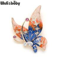 púrpura cobre mariposa al por mayor-Broches de mariposa de cobre para las mujeres Rhinestone Púrpura Azul Color de la mariposa Insectos Broche Animal Para Trajes Vestido de Banquete Pin